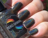 Olive Time & Space - dark olive linear holographic - nail polish by Indigo Bananas