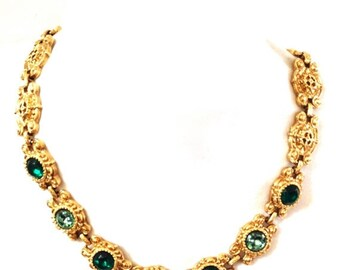 Green Etruscan Revival Necklace