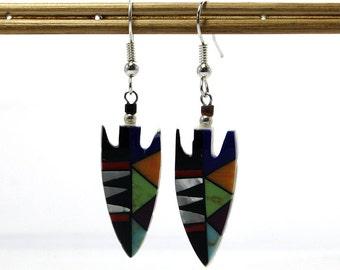Vintage Native American Arrowhead Earrings Southwestern Hopi Style
