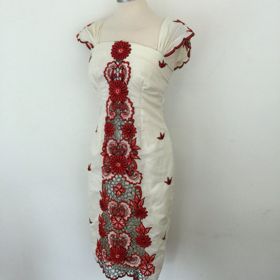 RESERVED Vintage wiggle dress cutout embroidery panel cream, black and red body con 1950s 1960s style dress UK 10 handmade pin up