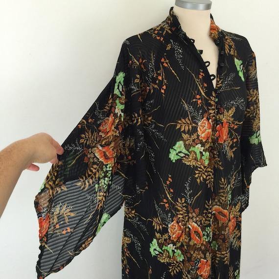 1970s kaftan flower power maxi dress flared handkerchief sleeve 70s house dress hippy boho beach cover up muu muu UK 8 10 sheer