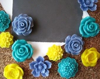 Cute Thumbtacks, 12 Teal, Cornflower Blue and Yellow Push Pins, Bulletin Board Tacks, Dorm Room Decor, Small Gifts, Housewarming Gift