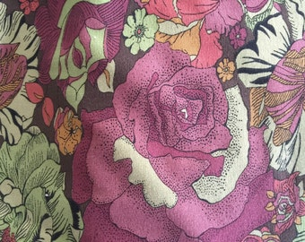 Made to Order Liberty of London Jersey Scarf in aubergine, green and coral