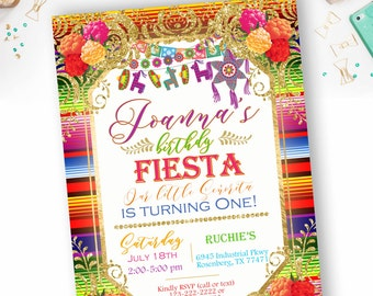 Mexican Fiesta Birthday Invitation, Fiest Invites, Piñta invitation - YOU PRINT
