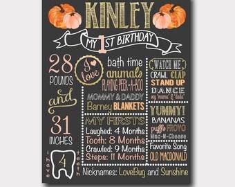 Pumpkin Birthday Board | Pumpkin Birthday Invitation | Our Little Pumpkin | Fall Birthday | Pumpkin Chalkboard