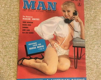 April 1959 Modern Man Magazine Margie Moran on Cover Risque Girly Nude Pin Up