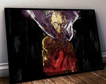 One Punch Man Poster. One Punch Man Painting Print. Mounted Canvas available on request details in listing
