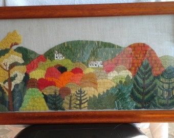 One of a kind Needlepoint of a Beautiful Fall Mountain Scenery #needlepoint #mountain #oneofakind #palmettopicks