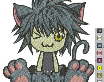 anime cat embroidery   - Machine embroidery design