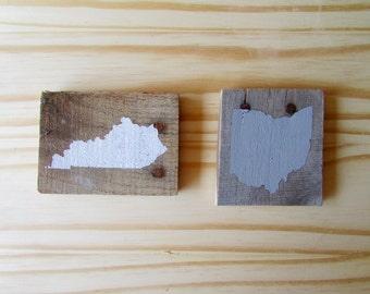 Custom State Rustic Wood Magnet
