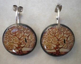 Tree of life Klimt earrings / Tree of life earrings / Klimt earrings / Tree of life Klimt / Klimt art earrings / Gustav Klimt