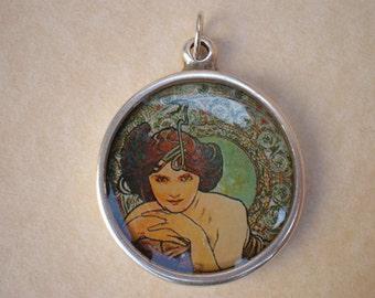 Mucha  art pendant - Alphonse Mucha  - Mucha jewelry - Vintage pendant - Vintage art - Resin jewelry