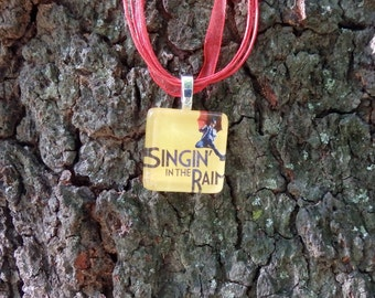 Broadway Musical Singin in the Rain Glass Pendant and Ribbon Necklace