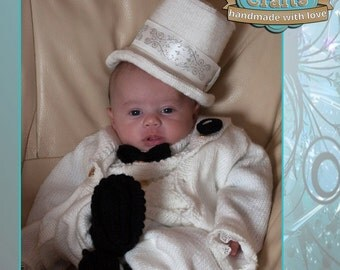 Hand knitted Babies Top Hat & Tails Outfit