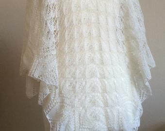 Ivory Haruni Wedding Shawl in Alpaca and Silk Lace Yarn