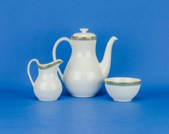 3 Vintage Retro Geometric Royal Doulton Porcelain TEA SET Old Luxurious Gold English Late 1900s LS