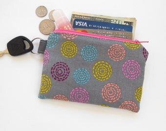 Mini Wallet Zipper Coin Purse Credit Card Case with Key Ring