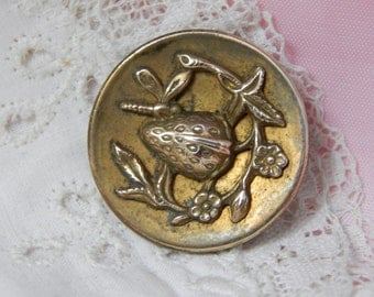 Strawberry and Insect Brass Picture Button