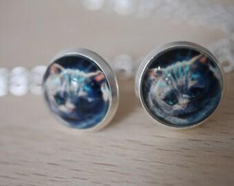 Alice in Wonderland Cat cabochon earring studs