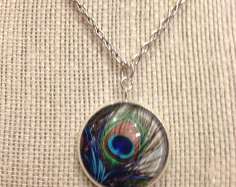 """18"""" Silver Peacock Feather Glass Pendant Necklace"""