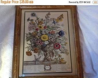 On Sale Vintage Framed Floral Print by Rob Furber Month of November