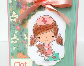Handmade Get Well Card, Nurse Card, Illness, Recovery Card, Childrens Card, Sick, Get Well, Floral Get Well, Nurse, Thinking of You Card