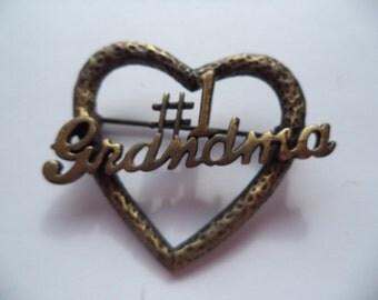 Vintage Signed JJ Bronze pewter Number One Grandma Brooch/Pin