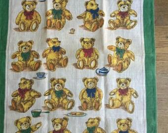 Teddy Bears unused tea towel Ulster Weavers Irish linen