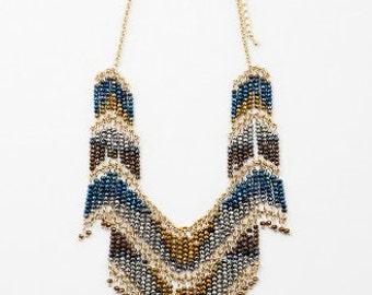 metallic beaded fringe statement Necklace