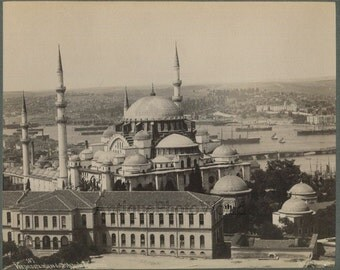 Turkey Istanbul mosque boats ships city panorama antique photo by Sebah