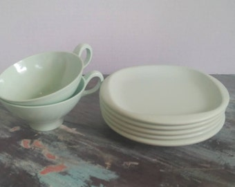 Vintage Boontonware Mint Green Cups and Saucers, Melmac, Melamine, Diner, Boonton, 7 Piece