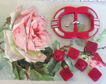 Celluloid Art Deco Red and Silver Buckle and Button Set 1930's
