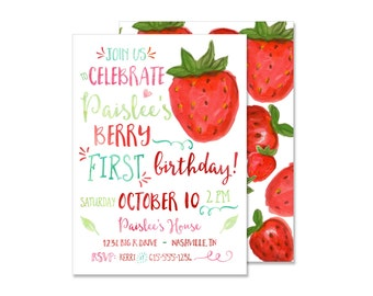 Strawberry Watercolor Birthday Invitation - Print your own - Watercolor Berry Invite Berry First Birthday Strawberry Farm Birthday Party