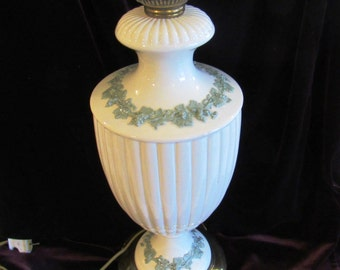 Wedgewood Queensware Sage and Creme Double Lamp Two Pulls Circa 1941 EXCELLENT ORIGINAL CONDITION