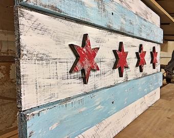 3D Vintage Rustic Wooden Chicago Flag 36'' x 21''