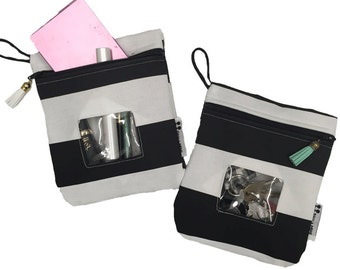 Black + White Stripe Reusable Snack Bag with tassel zipper pull- BPA Free Waterproof Lining- Machine Washable