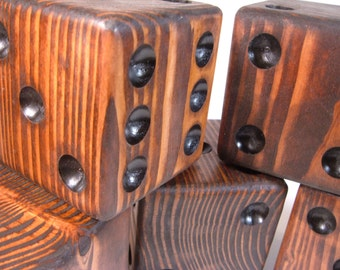 Six Red Mahogany Lawn Dice