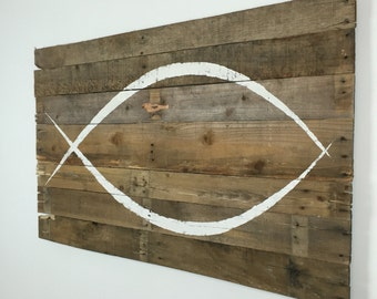 "ICHTHYS / Jesus Fish Wall Hanging on reclaimed wood 40"" x 25"""
