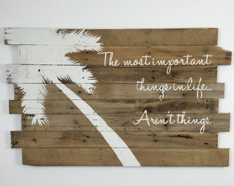 """Beach Decor Palm Tree and Inspirational Quote, Tropical Decor, Beach Sign,  Nautical Decor, Beach house, Beach room  48"""" x 30"""" Natural Color"""
