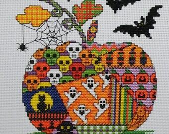 Patchwork Pumpkin Cross Stitch Pattern, Instant download PDF Pattern