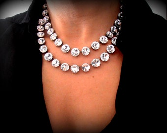 Swarovski Necklace / Bridal Wedding Tennis Choker / Anna Wintour / Rivoli Statement Necklace / Antique silver Cupchain / Bridal Accessories