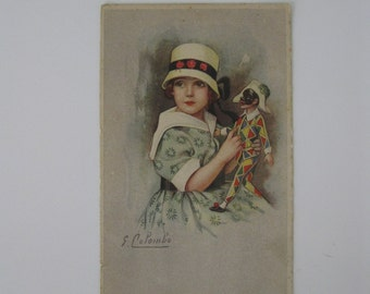 Colombo - Artist Signed Post Card - Girl with Masked Doll in Harlequin Dress - Used - 1920s