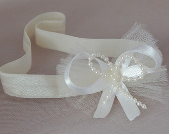 Christening ivory baby headband, flower girl hair band, satin bow with pearl, tulle bow hair band