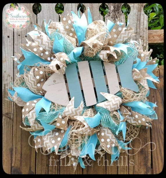 Fish Wreath Summer Wreath Deco Mesh Wreath Coastal