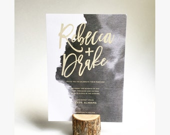 Watercolor Script Wedding Invitation and RSVP - Printable - Customized for your event - Featured on Ruffled Blog