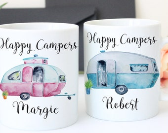 Happy Camper - His and Hers Mugs - Vintage Camper - His and Hers Coffee Mugs - His and Hers Cups - Personalized Gift - Custom Coffee Mugs
