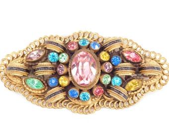 Large Brass & Pastel Crystals Antique Sash Brooch