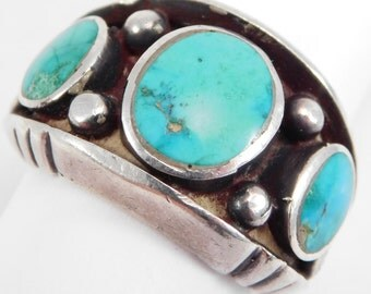 Heavy Sandcast & Turquoise Southwest Ring