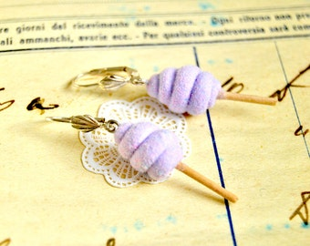 Handmade purple cotton candy earrings