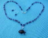 Amethyst Fish Necklace and earring Set    A+ Designer Special